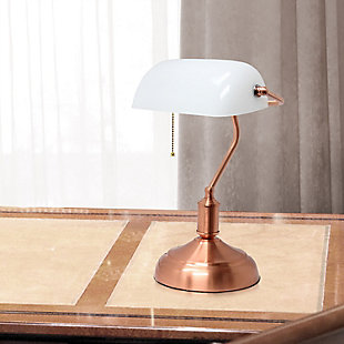 Home Accents Simple Designs Executive Bankers RGD Desk Lamp w Glass Shade, Rose Gold, rollover