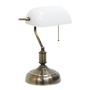 Home Accents Simple Designs Executive Bankers Desk Lamp w WHT Glass Shade, White, large