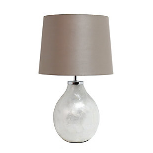 Home Accents Simple Designs 1 Light Pearl Table Lamp with Fabric Shade, , large