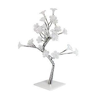 Home Accents Simple Designs Small White Morning Glory LED Decorative Tree, , large