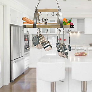 Home Accents Elegant Designs 2 Light Kitchen Wood Pot Rack with DownLights, , rollover