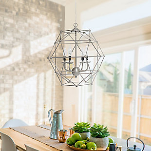 Home Accents Elegant Designs 4 Light BSN Hexagon Industrial Rustic Pendant, , rollover