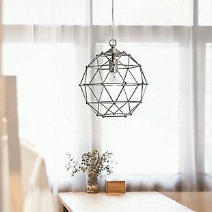 Home Accents Elegant Designs 1 Light BSN Hexagon Industrial Rustic Pendant, , large