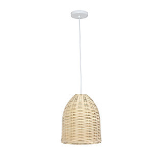 Home Accents Elegant Designs Elongated Coastal Dome Rattan Pendant, , large