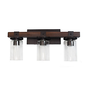 Home Accents Elegant Designs  Restored Wood Look 3 Light Bath Vanity, Brown, Brown, large