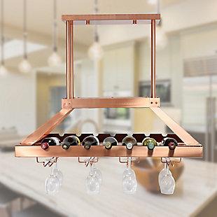 Home Accents Elegant Designs 2 Light LED Overhead Wine Rack, Copper, Copper, rollover