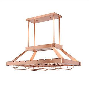 Home Accents Elegant Designs 2 Light LED Overhead Wine Rack, Copper, Copper, large