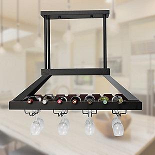Home Accents Elegant Designs 2 Light LED Overhead Wine Rack, Oil Rubbed Brz, Bronze, rollover