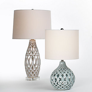 Jamie Young Filigree Table Lamp in Cream Ceramic with Cone Shade in White Linen, Cream, rollover