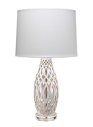 Jamie Young Filigree Table Lamp in Cream Ceramic with Cone Shade in White Linen, Cream, large