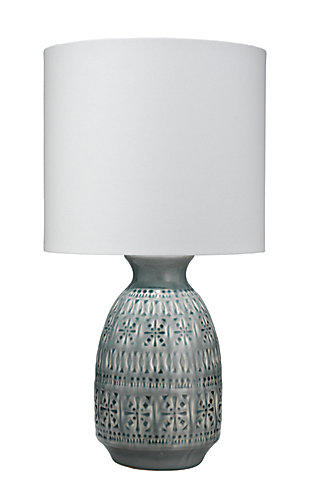 Jamie Young Frieze Table Lamp in Slate Blue Ceramic with Drum Shade in White Linen, Slate Blue, large
