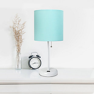 LimeLights LimeLights White Stick Lamp with USB Charging Port and Fabric Shade 2 Pack Set, Aqua, White/Aqua, rollover