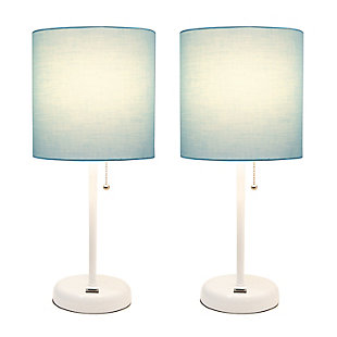 LimeLights LimeLights White Stick Lamp with USB Charging Port and Fabric Shade 2 Pack Set, Aqua, White/Aqua, large