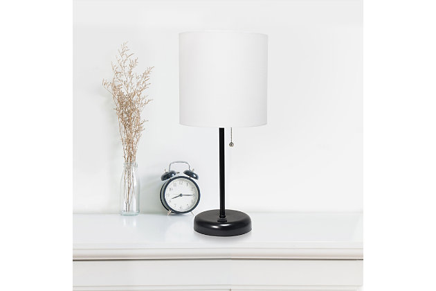 LimeLights LimeLights Black Stick Lamp with USB Charging Port and Fabric Shade 2 Pack Set, White, Black/White, large