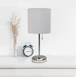 LimeLights LimeLights Stick Lamp with USB Charging Port and Fabric Shade 2 Pack Set, Gray, Brushed Steel/Gray, large