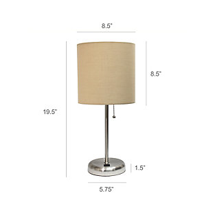 LimeLights LimeLights Stick Lamp with USB Charging Port and Fabric Shade 2 Pack Set, Tan, Brushed Steel/Tan, large
