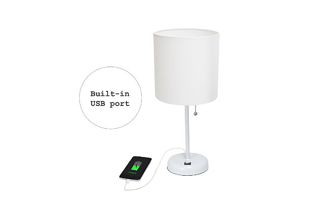 LimeLights LimeLights White Stick Lamp with USB Charging Port and Fabric Shade 2 Pack Set, White, White, large