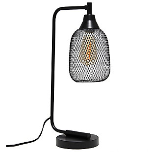 Lalia Home Lalia Home Industrial Mesh Desk Lamp, Matte Black, Black, large