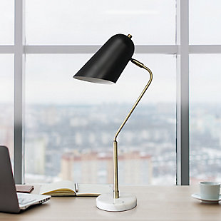 Lalia Home Lalia Home Asymmetrical Marble and Metal Desk Lamp with Black Sloped Shade, , rollover