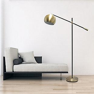 Lalia Home Lalia Home Black Matte Swivel Floor Lamp with Inner White Dome Shade, Antique Brass, rollover