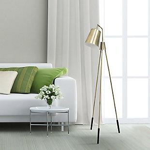 Lalia Home Lalia Home Industrial 1 Light Tripod Floor Lamp with Interior White Spotlight, Antique Brass, , rollover