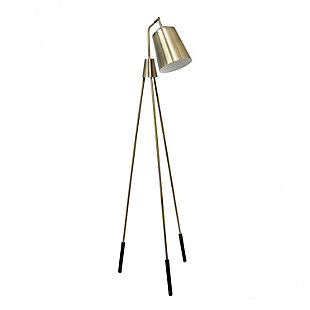 Lalia Home Lalia Home Industrial 1 Light Tripod Floor Lamp with Interior White Spotlight, Antique Brass, , large