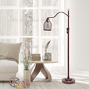 Lalia Home Lalia Home Vintage Arched 1 Light Floor Lamp with Iron Mesh Shade, Red Bronze, , rollover