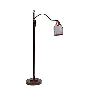 Lalia Home Lalia Home Vintage Arched 1 Light Floor Lamp with Iron Mesh Shade, Red Bronze, , large