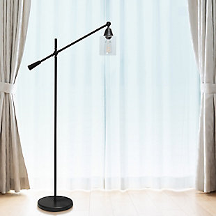 Lalia Home Lalia Home Swing Arm Floor Lamp with Clear Glass Cylindrical Shade, Black Matte, Black, rollover