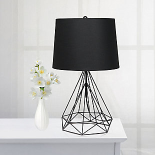Lalia Home Lalia Home Geometric Black Matte Wired Table Lamp with Fabric Shade, Black, rollover