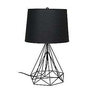 Lalia Home Lalia Home Geometric Black Matte Wired Table Lamp with Fabric Shade, Black, large