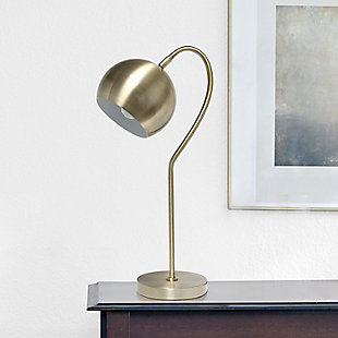 Lalia Home Lalia Home Mid Century Curved Table Lamp with Dome Shade, Antique Brass, Antique Brass, rollover