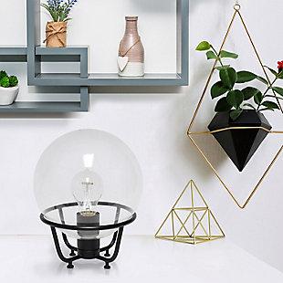 Lalia Home Lalia Home Old World Globe Glass Table Lamp, Black, Black, rollover
