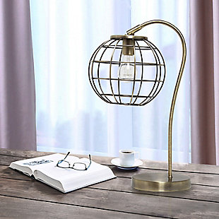 Lalia Home Lalia Home Arched Metal Cage Table Lamp, Antique Brass, Antique Brass, rollover