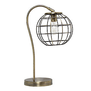 Lalia Home Lalia Home Arched Metal Cage Table Lamp, Antique Brass, Antique Brass, large