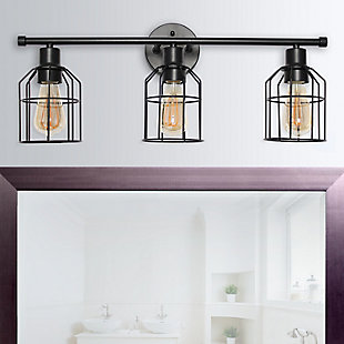 Lalia Home Lalia Home 3 Light Industrial Wired Vanity Light, Matte Black, Black, rollover
