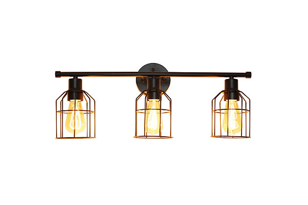 Lalia Home Lalia Home 3 Light Industrial Wired Vanity Light, Matte Black, Black, large
