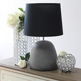 Simple Designs  Simple Designs Round Concrete Table Lamp, Black, Black, rollover