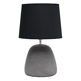 Simple Designs  Simple Designs Round Concrete Table Lamp, Black, Black, large