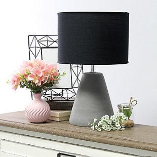 Simple Designs  Simple Designs Pinnacle Concrete Table Lamp, Black, Black, rollover
