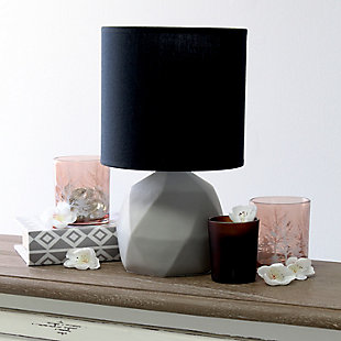 Simple Designs  Simple Designs Geometric Concrete Lamp, Black, Black, rollover