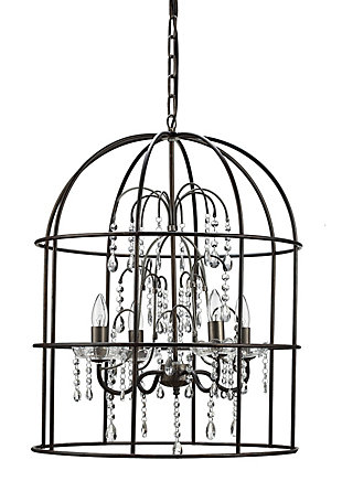 Creative Co-Op Metal Birdcage Chandelier with 4 Lights and Glass Crystals, , large