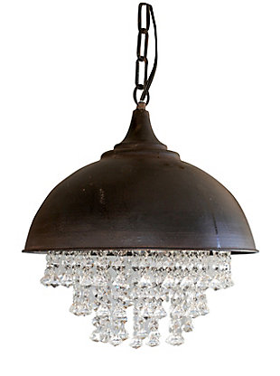 Creative Co-Op Antiqued Bronze Chandelier with Hanging Crystals, , large