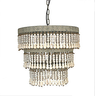 Creative Co-Op 3-Tier Round Metal Chandelier with 3 Lights and Hanging Wood Beads, , large