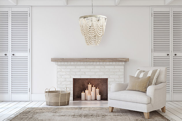 Creative Co-Op Metal Chandelier with Draped Wood Beads, , large