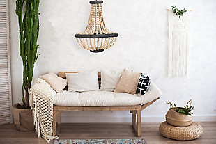 Creative Co-Op Wood Beaded Pendant Light with Wood Frame, , rollover