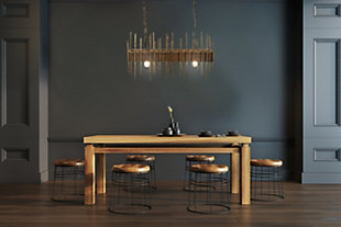 """Creative Co-Op 35.5"""" Wood Pendant Light with Metal Rods, , rollover"""
