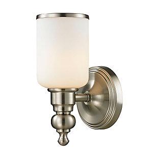 One Light Bath Vanity Fixture, Brushed Nickel, large