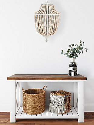 Creative Co-Op Metal Chandelier with Wood Beads, White, rollover
