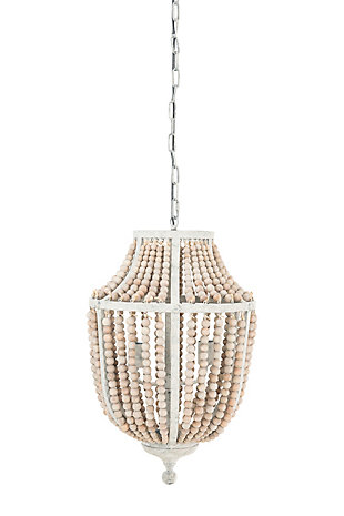Creative Co-Op Metal Chandelier with Wood Beads, White, large